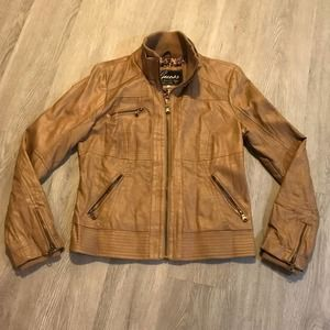 Guess Large Faux Leather Tan Moto Jacket